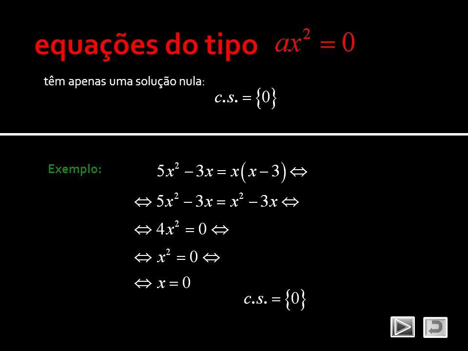 equações do tipo têm apenas uma solução nula: Exemplo: