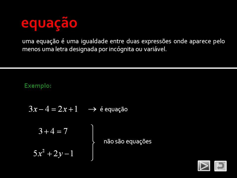 equação uma equação é uma igualdade entre duas expressões onde aparece pelo menos uma letra designada por incógnita ou variável.