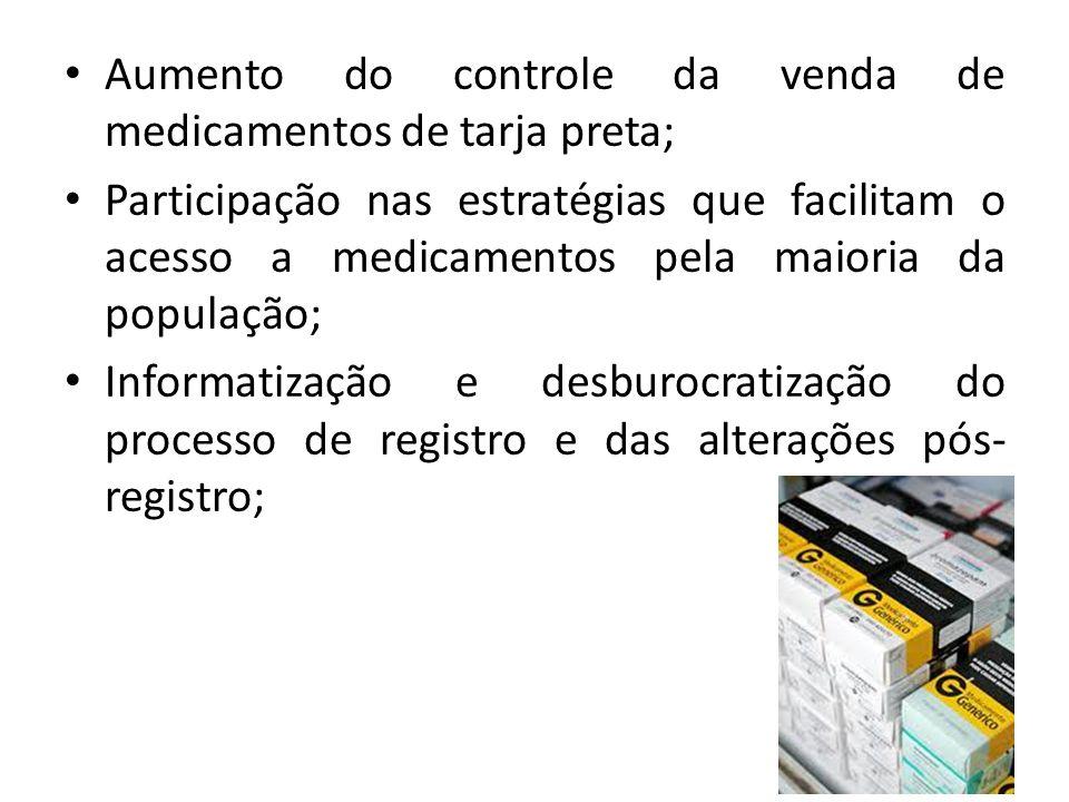 Aumento do controle da venda de medicamentos de tarja preta;