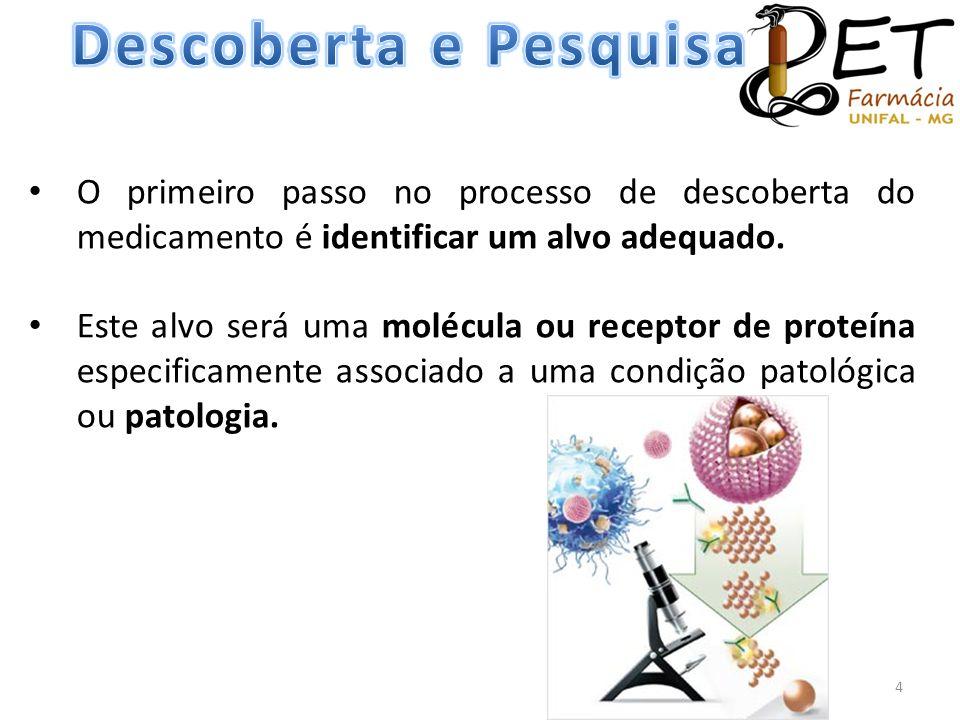 Descoberta e Pesquisa O primeiro passo no processo de descoberta do medicamento é identificar um alvo adequado.