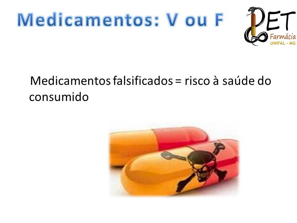 Medicamentos: V ou F Medicamentos falsificados = risco à saúde do consumido