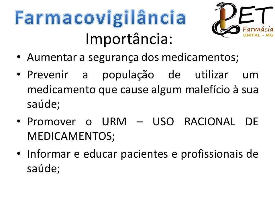 Farmacovigilância Importância: Aumentar a segurança dos medicamentos;