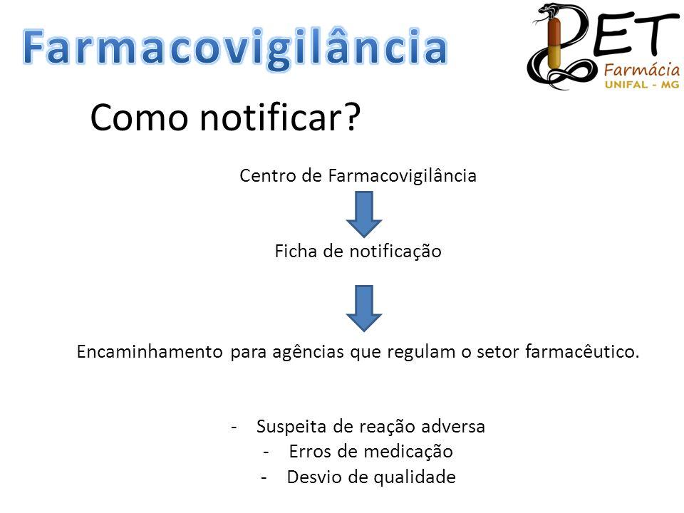 Farmacovigilância Como notificar Centro de Farmacovigilância