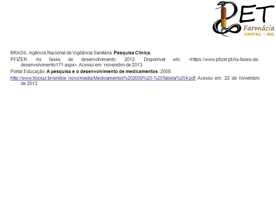 BRASIL. Agência Nacional de Vigilância Sanitária. Pesquisa Clínica