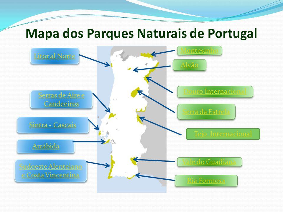 Mapa dos Parques Naturais de Portugal