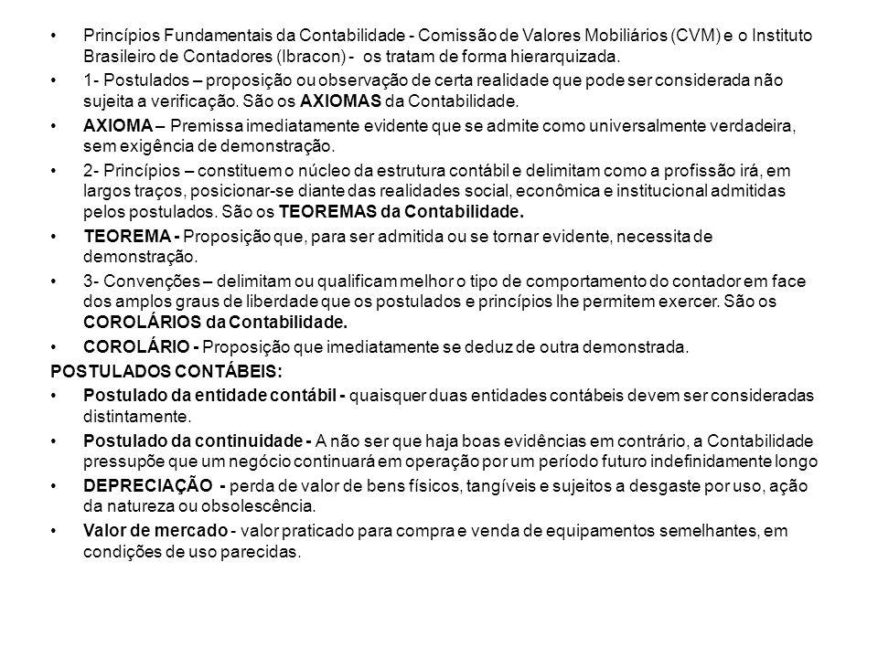 Princípios Fundamentais da Contabilidade - Comissão de Valores Mobiliários (CVM) e o Instituto Brasileiro de Contadores (Ibracon) - os tratam de forma hierarquizada.