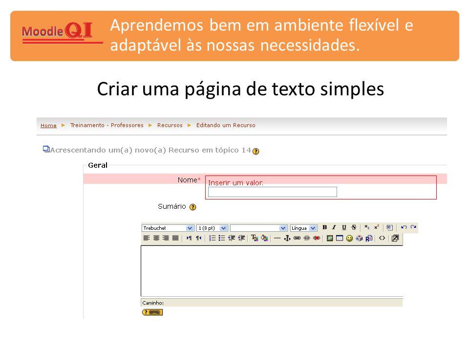 Criar uma página de texto simples