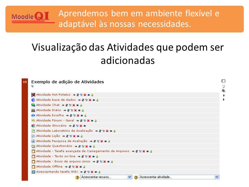 Visualização das Atividades que podem ser adicionadas