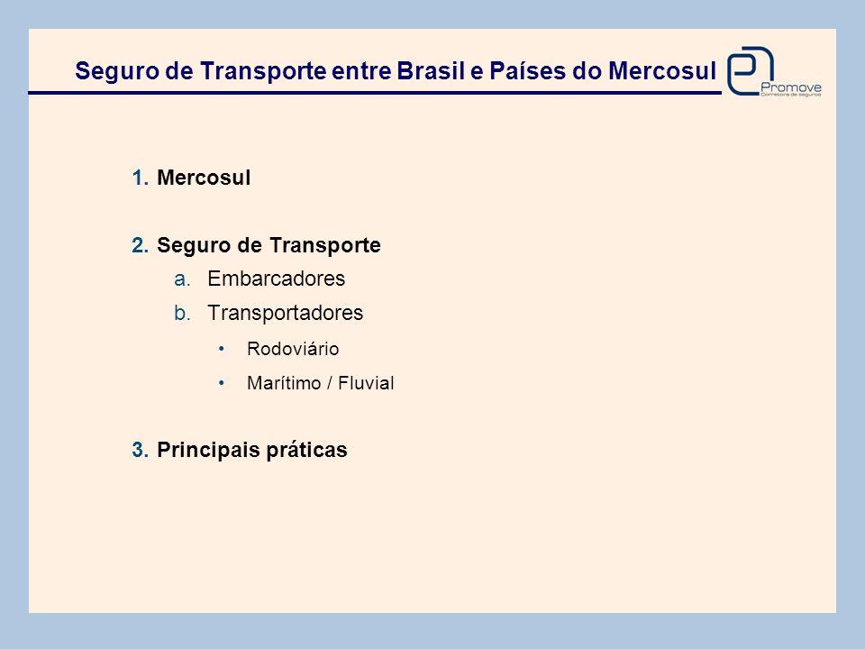 Seguro de Transporte entre Brasil e Países do Mercosul