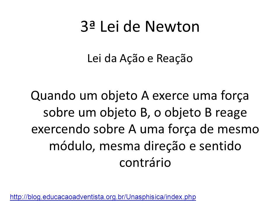 3ª Lei de Newton Lei da Ação e Reação.