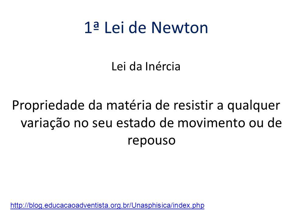 1ª Lei de Newton Lei da Inércia. Propriedade da matéria de resistir a qualquer variação no seu estado de movimento ou de repouso.