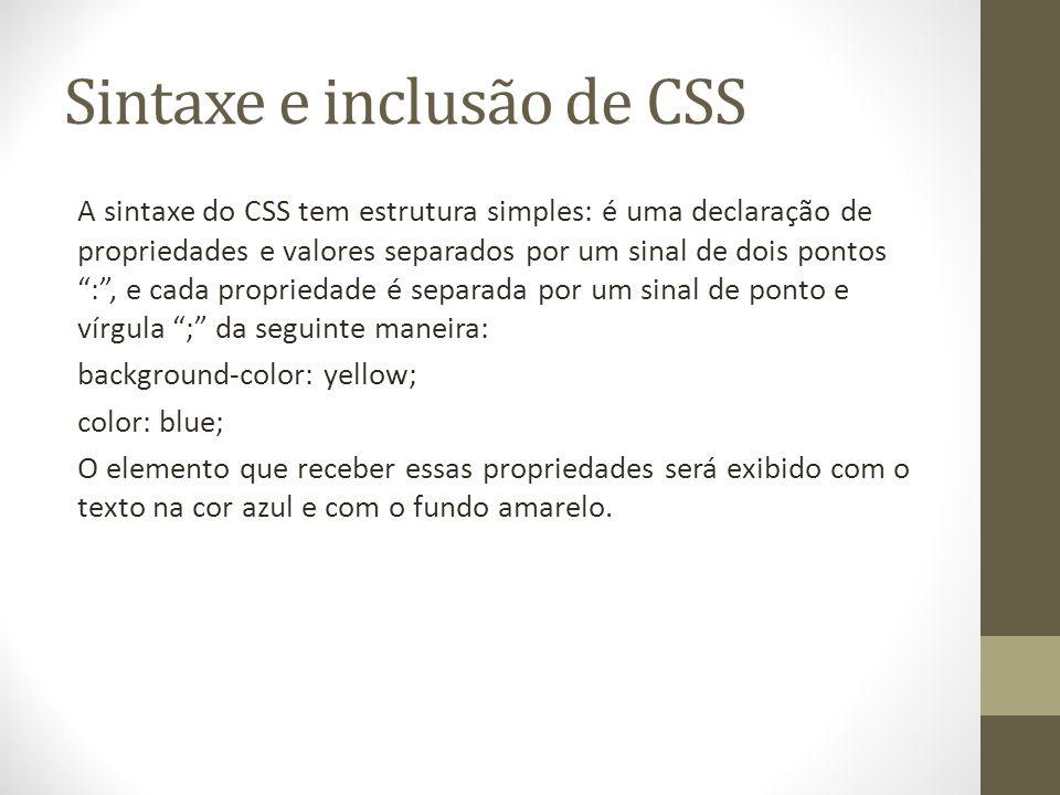 Sintaxe e inclusão de CSS