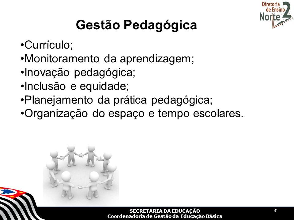 Gestão Pedagógica Currículo; Monitoramento da aprendizagem;