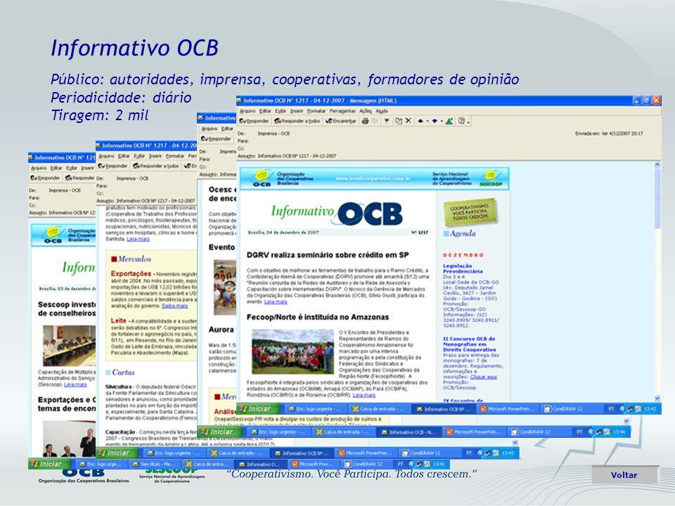 Informativo OCB Público: autoridades, imprensa, cooperativas, formadores de opinião Periodicidade: diário Tiragem: 2 mil.