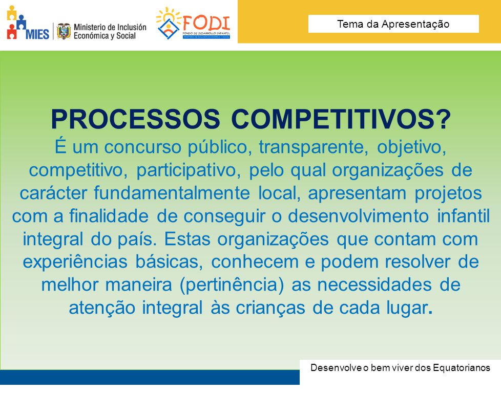 OS PROCESSOS COMPETITIVOS