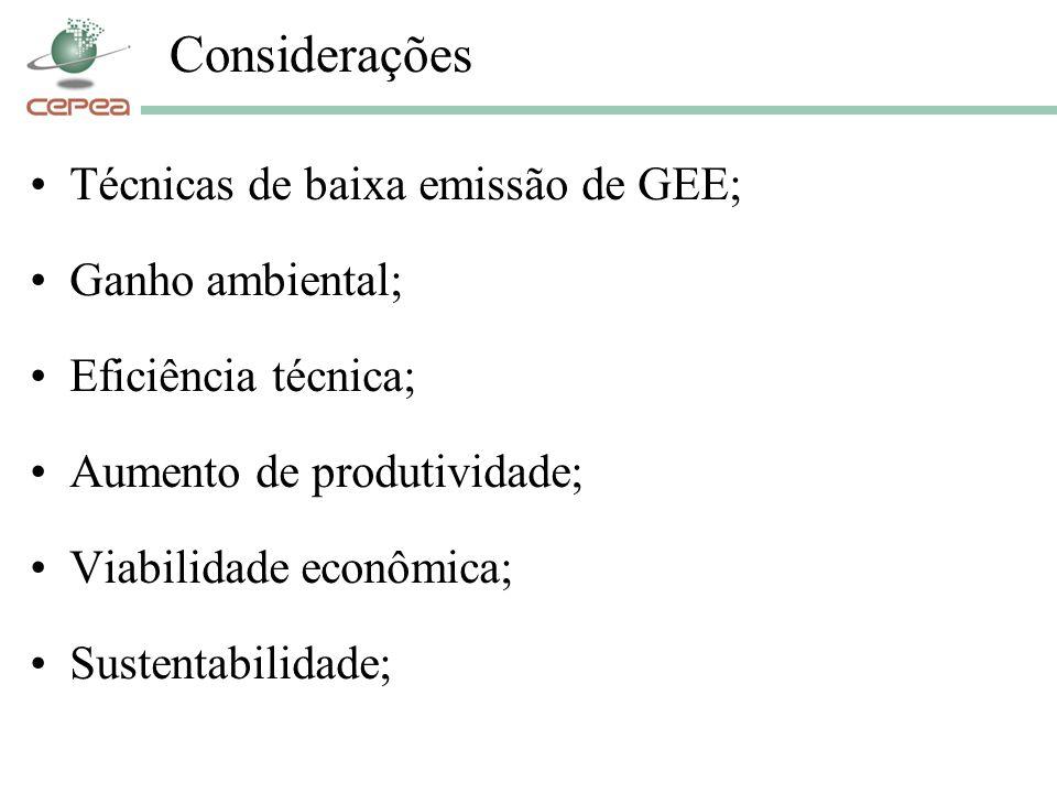 Considerações Técnicas de baixa emissão de GEE; Ganho ambiental;