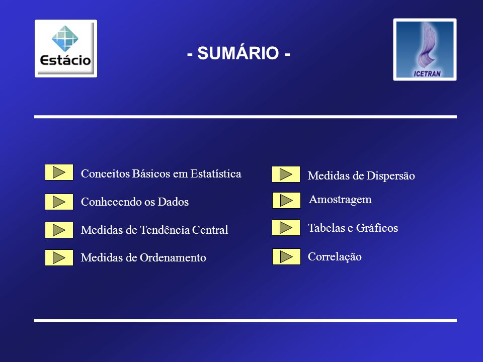- SUMÁRIO - Conceitos Básicos em Estatística Medidas de Dispersão