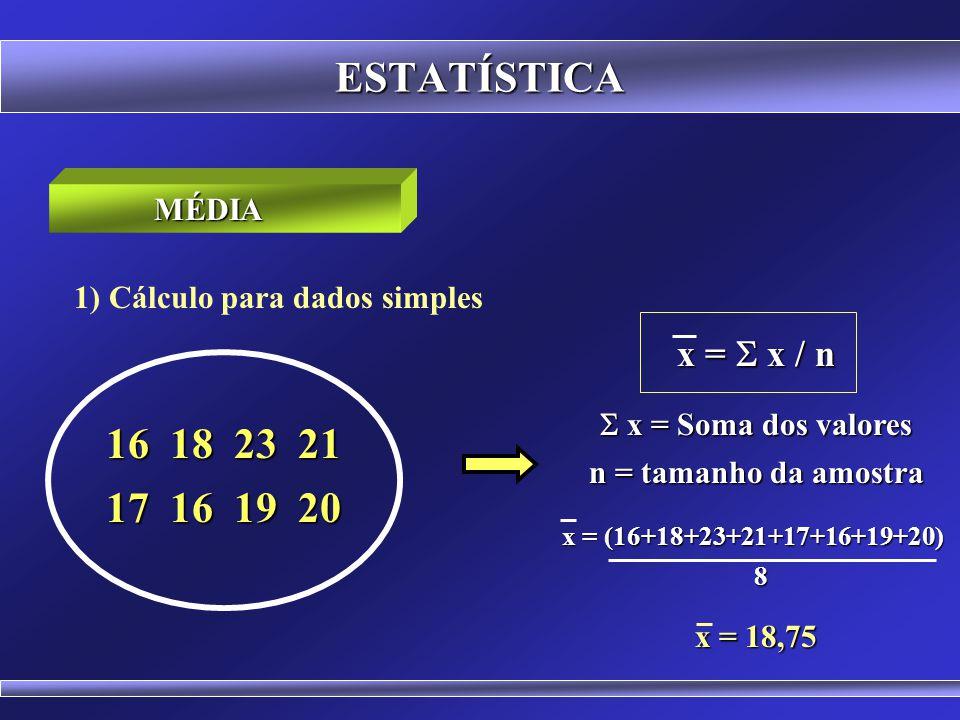 ESTATÍSTICA 16 18 23 21 17 16 19 20 x = S x / n MÉDIA