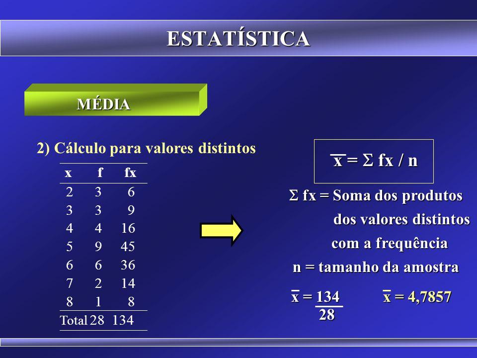 ESTATÍSTICA x f fx x = S fx / n MÉDIA
