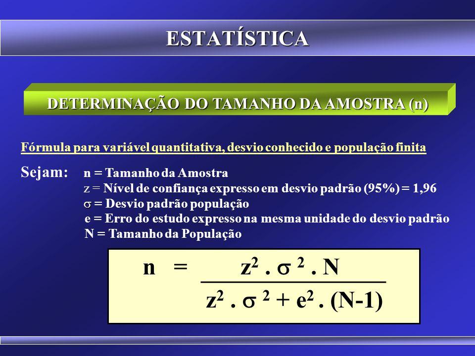 DETERMINAÇÃO DO TAMANHO DA AMOSTRA (n)