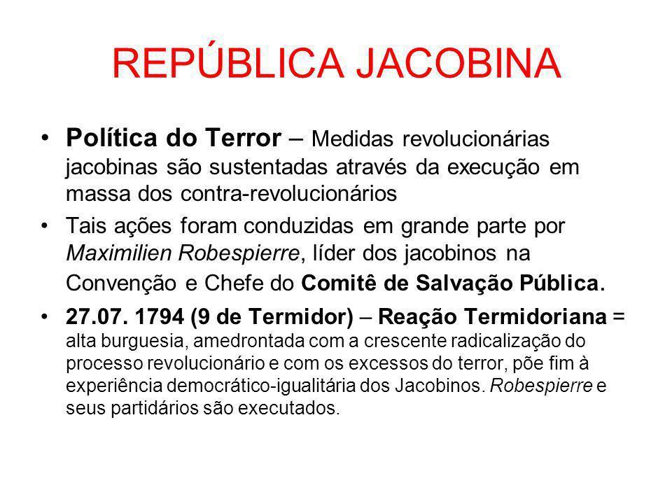 REPÚBLICA JACOBINA Política do Terror – Medidas revolucionárias jacobinas são sustentadas através da execução em massa dos contra-revolucionários.