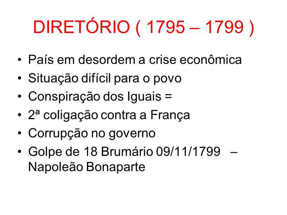 DIRETÓRIO ( 1795 – 1799 ) País em desordem a crise econômica