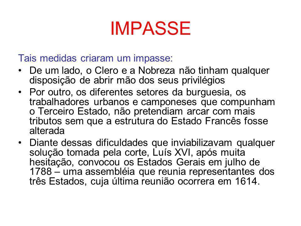 IMPASSE Tais medidas criaram um impasse: