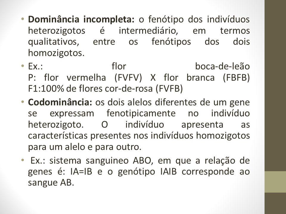 Dominância incompleta: o fenótipo dos indivíduos heterozigotos é intermediário, em termos qualitativos, entre os fenótipos dos dois homozigotos.