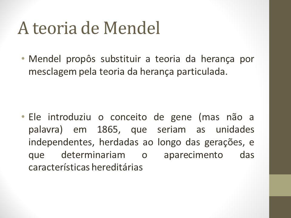 A teoria de Mendel Mendel propôs substituir a teoria da herança por mesclagem pela teoria da herança particulada.