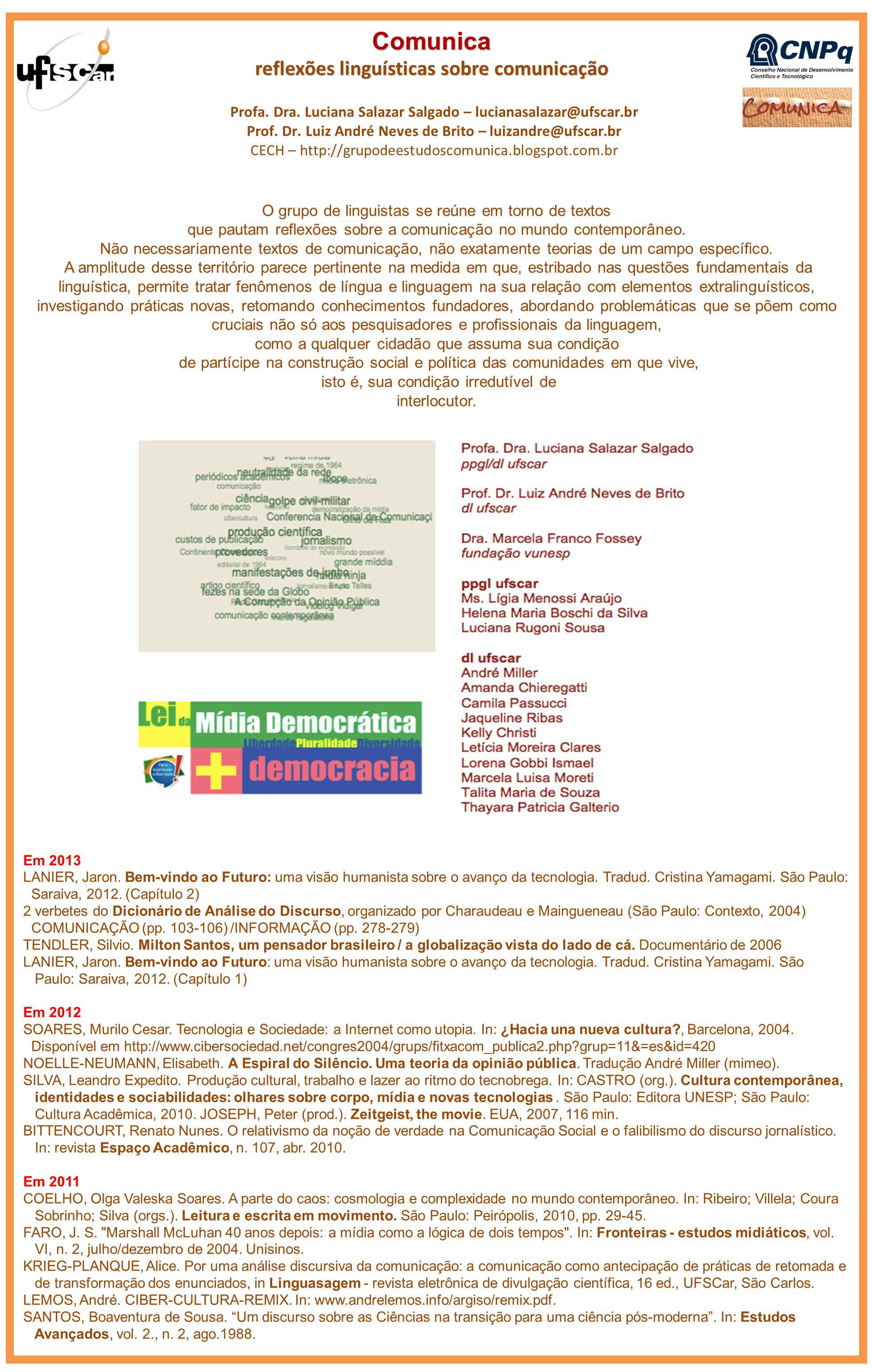 Comunica reflexões linguísticas sobre comunicação