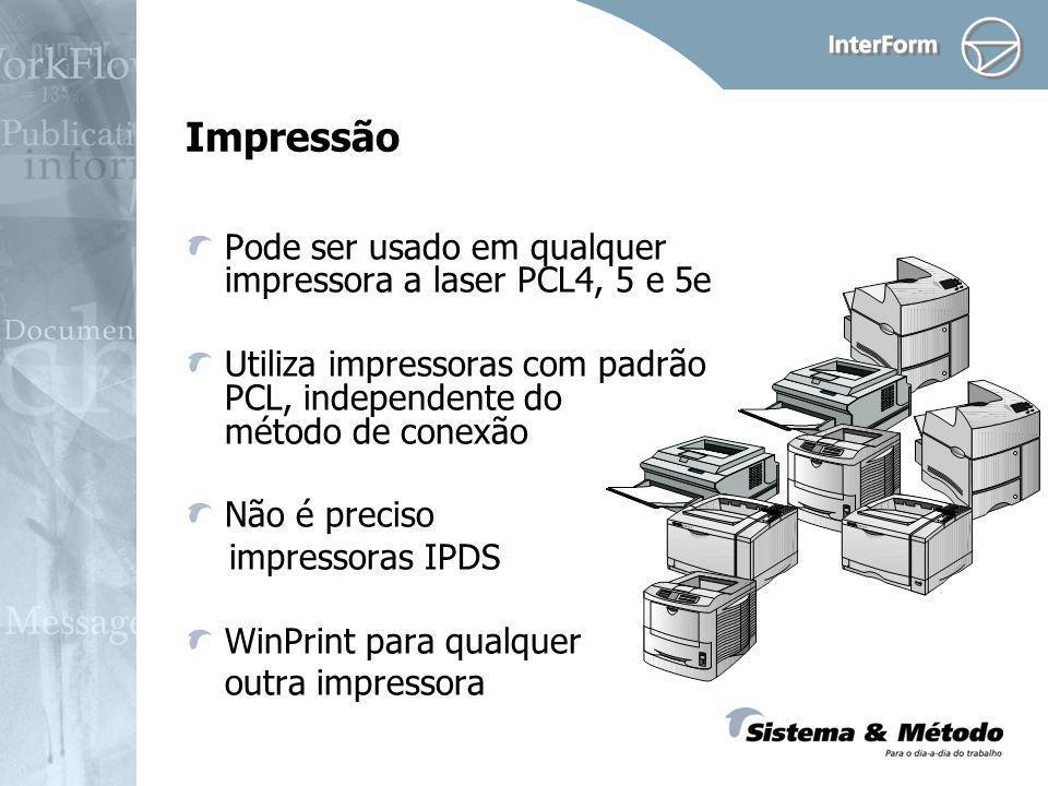 Impressão Pode ser usado em qualquer impressora a laser PCL4, 5 e 5e