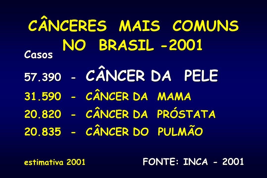 CÂNCERES MAIS COMUNS NO BRASIL -2001