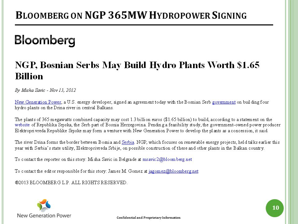 Bloomberg on NGP 365MW Hydropower Signing