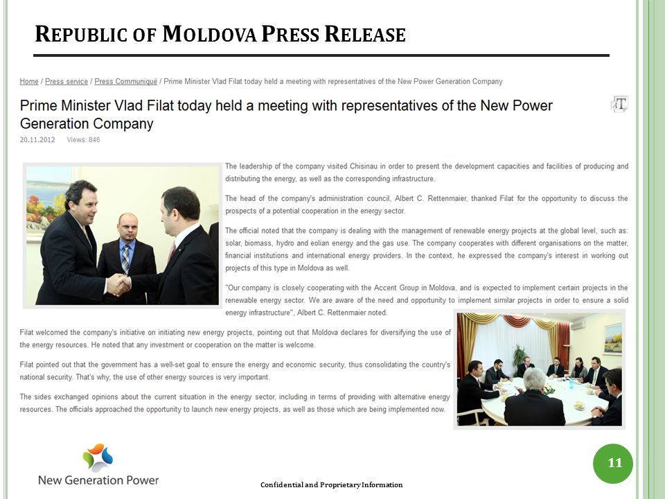 Republic of Moldova Press Release