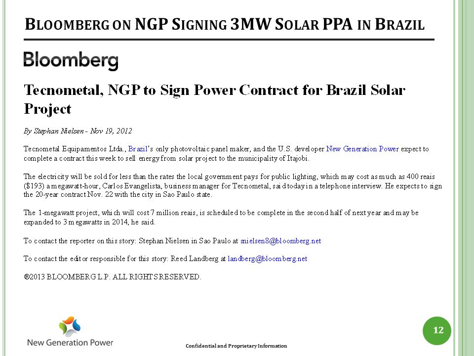 Bloomberg on NGP Signing 3MW Solar PPA in Brazil