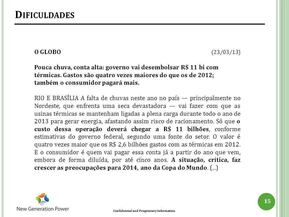Dificuldades O GLOBO (23/03/13)