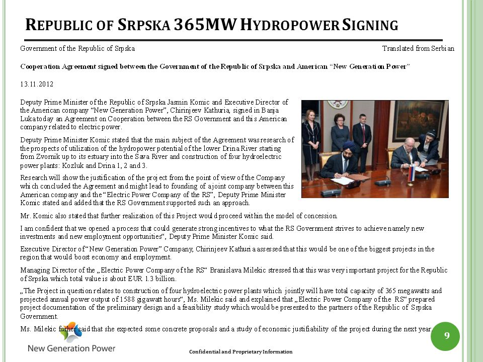 Republic of Srpska 365MW Hydropower Signing