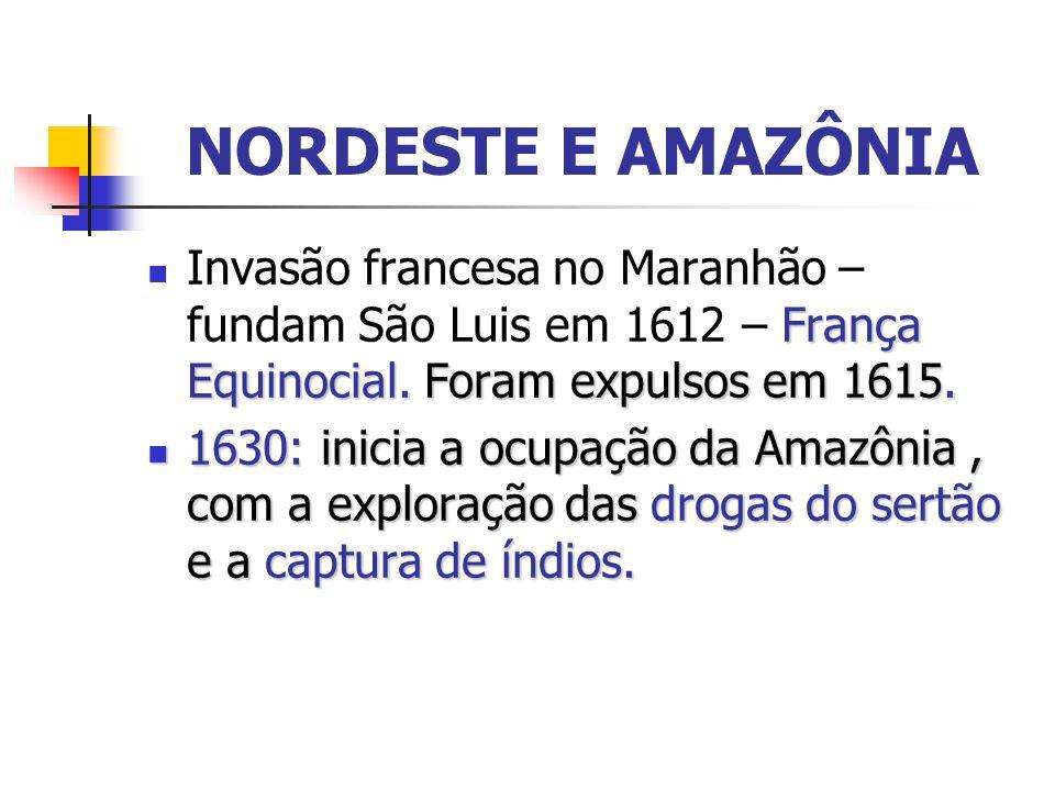 NORDESTE E AMAZÔNIA Invasão francesa no Maranhão – fundam São Luis em 1612 – França Equinocial. Foram expulsos em 1615.