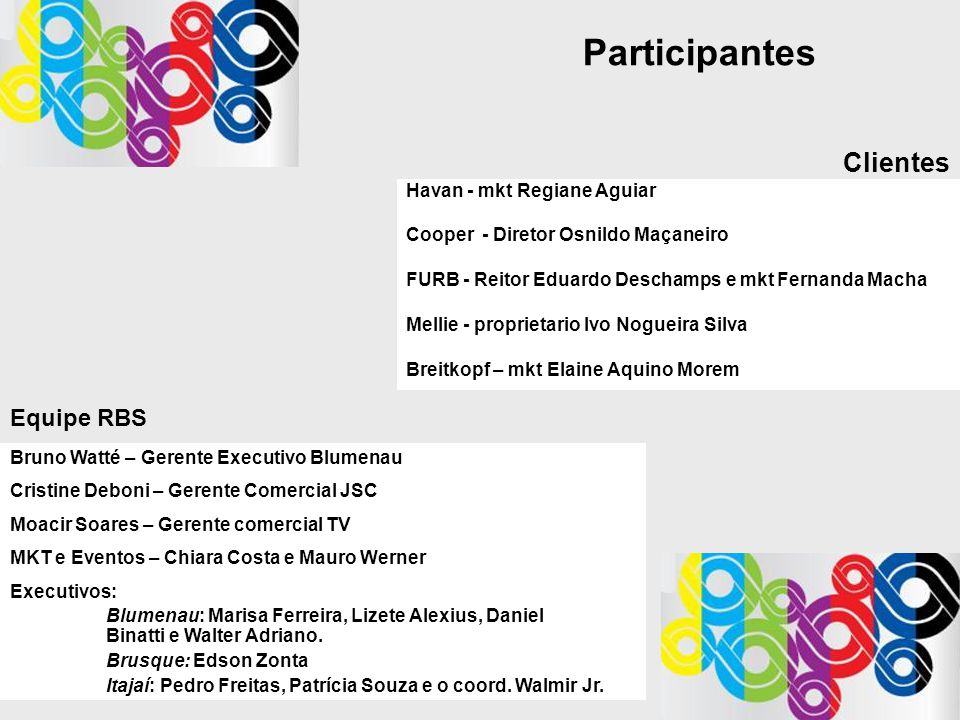 Participantes Clientes Equipe RBS Havan - mkt Regiane Aguiar