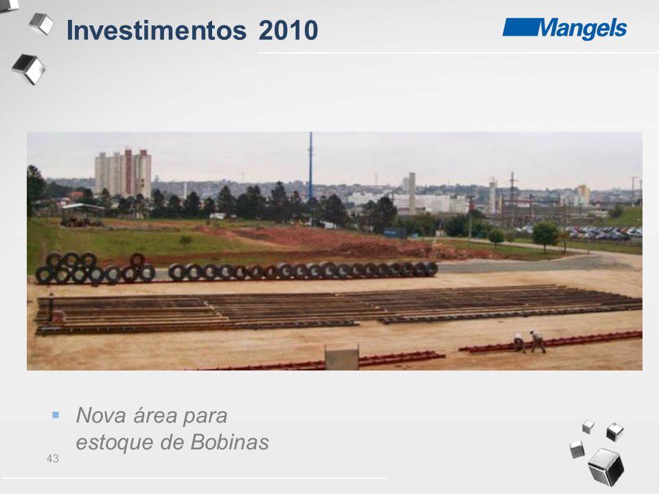 Investimentos 2010 Nova área para estoque de Bobinas