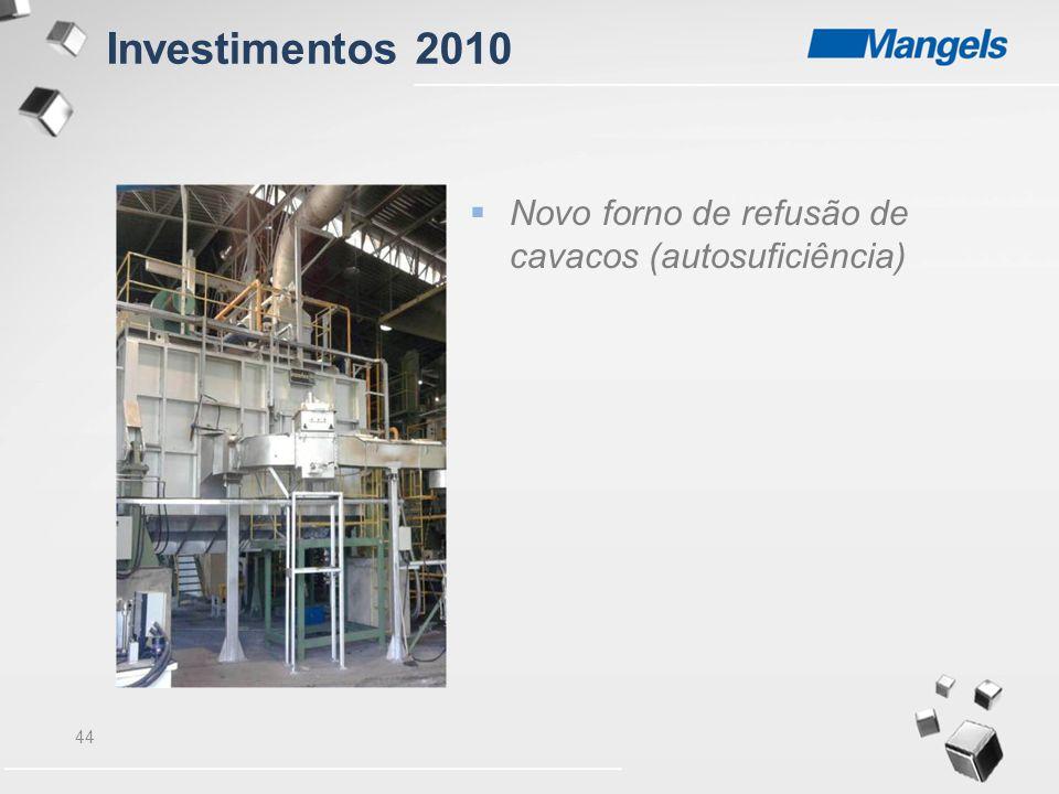 Investimentos 2010 Novo forno de refusão de cavacos (autosuficiência)