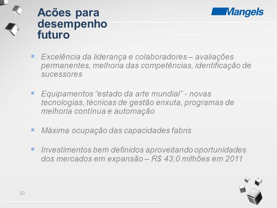 Acões para desempenho futuro