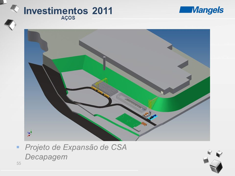 Investimentos 2011 AÇOS Projeto de Expansão de CSA Decapagem 55 55