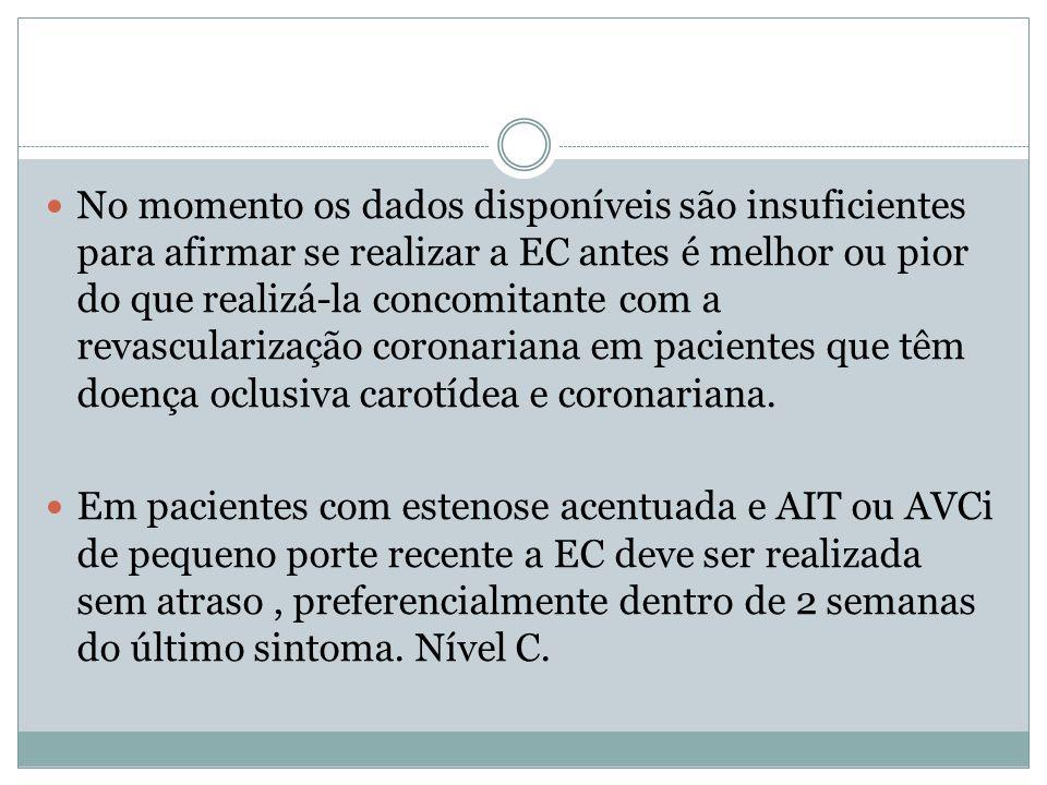 No momento os dados disponíveis são insuficientes para afirmar se realizar a EC antes é melhor ou pior do que realizá-la concomitante com a revascularização coronariana em pacientes que têm doença oclusiva carotídea e coronariana.