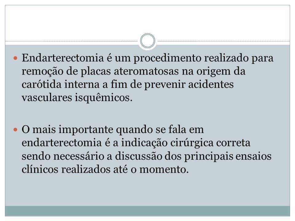 Endarterectomia é um procedimento realizado para remoção de placas ateromatosas na origem da carótida interna a fim de prevenir acidentes vasculares isquêmicos.