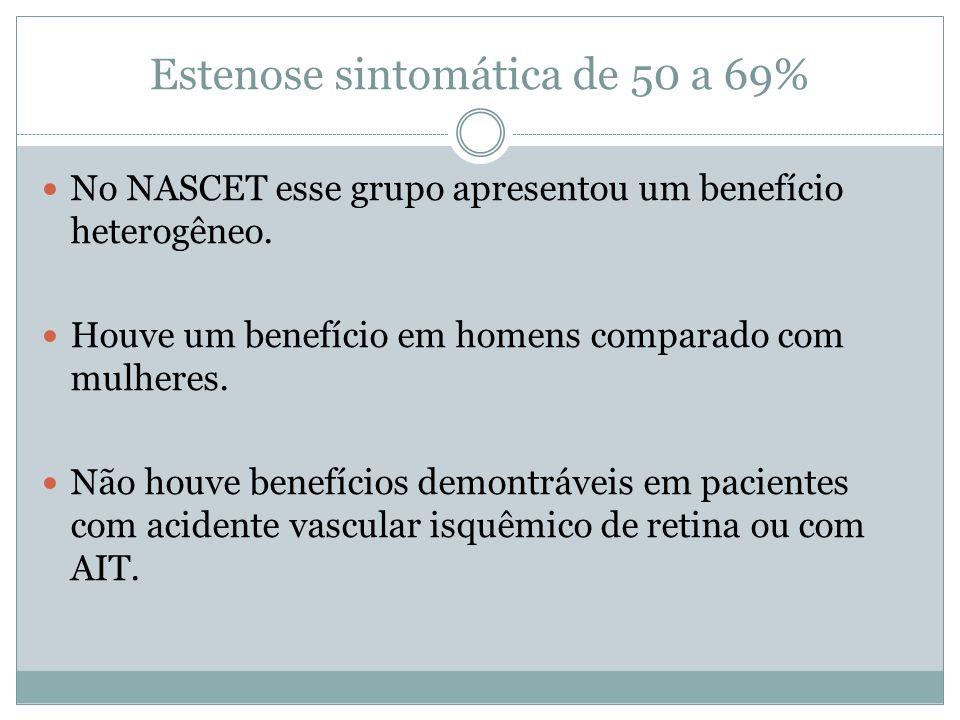 Estenose sintomática de 50 a 69%
