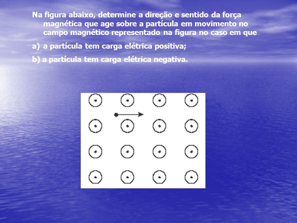 Na figura abaixo, determine a direção e sentido da força magnética que age sobre a partícula em movimento no campo magnético representado na figura no caso em que