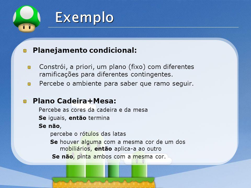 Exemplo Planejamento condicional: Plano Cadeira+Mesa: