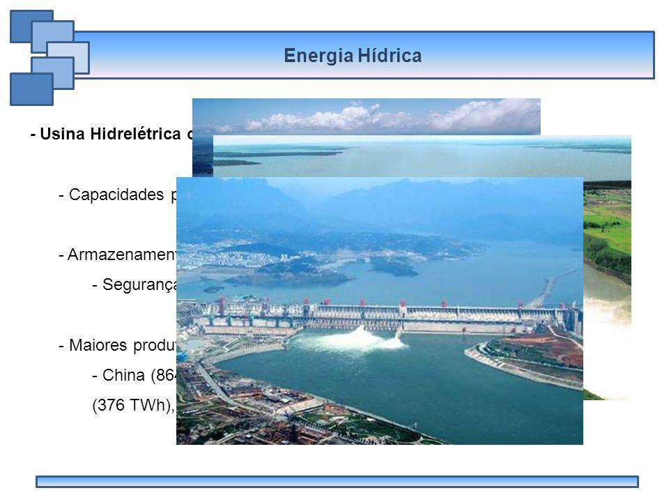 Energia Hídrica - Usina Hidrelétrica com Reservatório