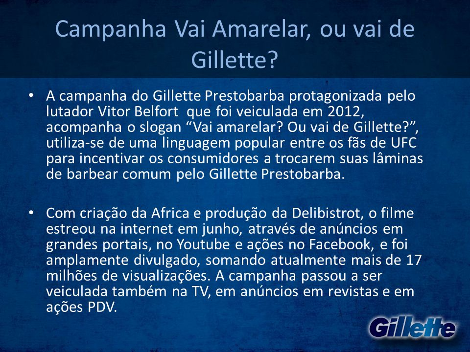 Campanha Vai Amarelar, ou vai de Gillette